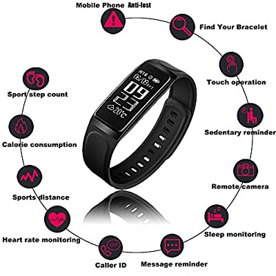 HapFit Fitness Tracker, Smart Bracelet Activity Wristband Calorie Habit Heart Rate and Sleep Monitor Bluetooth Wireless Waterproof Pedometer Watch Counter Band for iOS & Android Wear Device Support