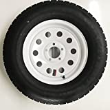 Radial Trailer Tire + Rim ST205/75R15 205/75-15 15 5 Lug Wheel White Modular