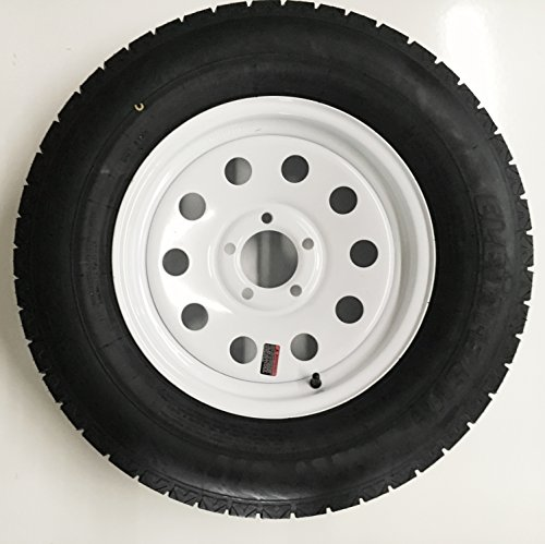 eCustomRim Radial Trailer Tire + Rim ST205/75R15 205/75-15 15 5 Lug Wheel White - 15 With Tires Rims