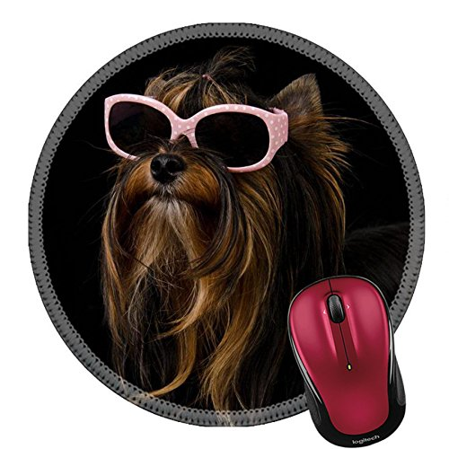 Liili Round Mouse Pad Natural Rubber Mousepad Yorkie with pink sun glasses against black background IMAGE ID - Background Without Sunglasses