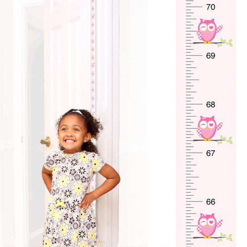 [Mom Approved PeekaBoo Growth Charts [Pink Owl] Track & Measure your Kid's Height. Fits in Door Jamb, Removable, Self-Adhesive [72 x 1.25 Inches] Mom's Choice Award Winner] (Pre Cut Self Adhesive)