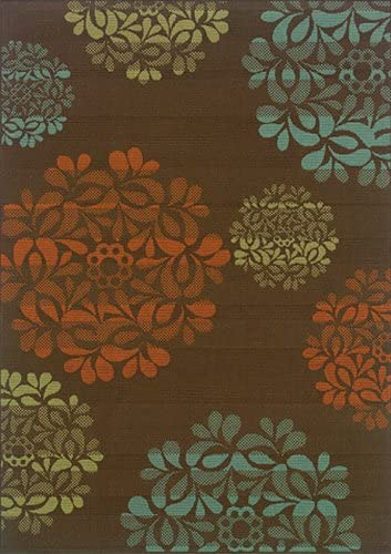 Moretti Wordhaven Area Rug 2635N Brown Floral Petals 7 10 x 7 10 Round