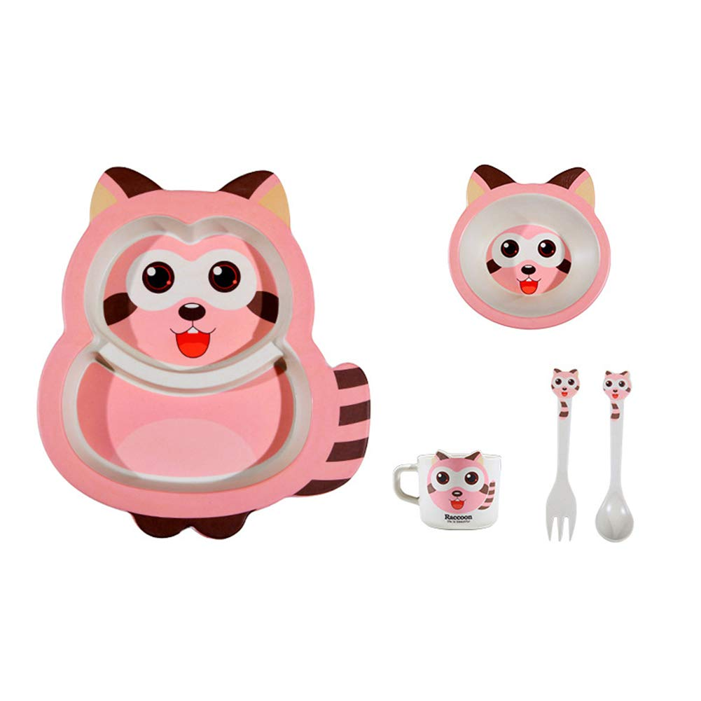 Child Friendly Dinner Set Eco-Friendly Bamboo Fibre Dining Set Design Tableware Dinnerware Safe Material Protects Your Child's Health,Pink