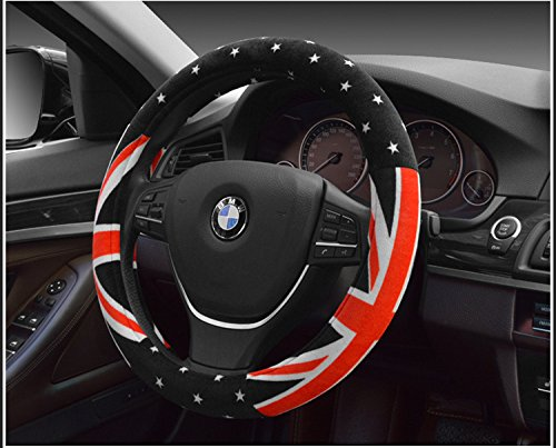 "Union Jack Flag Winter Short Plush Warm Steering Wheel Cover Printed auto interior accessories car steering wheel covers 15"" (Union Printed)"