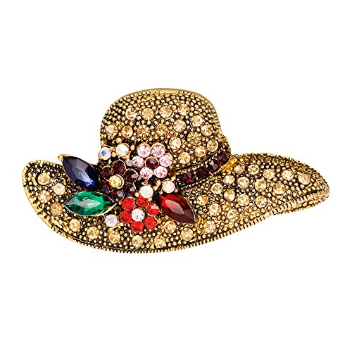 Shaped Hat Pin (Rinhoo Antique Gold Retro Crystal Rhinestone Flower & Bowknot Brooch Pin Women Girls Jewelry(Hat))