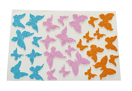 Zap Impex Pack Of 5 Sheets Of Glitter Foam Stickers ~ Butter