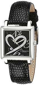 Stuhrling Original Women's 253.11151 Amour Aphrodite Courtly Diamond Quartz Black Leather Strap Watch