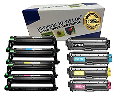 HI-VISION® Brother Compatible DR221CL Drum Unit set and TN221 TN225 Toner Cartridges for HL-3140CW,3170CDW,3150CDN,MFC-9130CW,9330CDW,9340CDW,DCP-9020CDN color laser printer TN-221 TN-225 DR-221CL