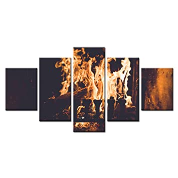 FEIF 5 Unidades Chimeneas Eléctricas De Interior Estufas De Leña Casa Moderna Decoración De La Pared Lienzo Foto Arte HD Impresión Pintura Lienzo Arte: ...
