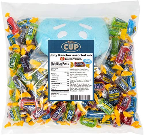 Jolly Rancher Bulk Hard Candy Mix 2 Pound Individually Wrapped Assorted - with 1 Jelly Bean Emoji Mini Plush Toy
