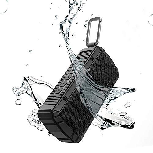 APIE Portable Wireless Outdoor Bluetooth Speaker IPX6 Waterproof Dual 10W Drivers, Enhanced Bass, Built in Mic, Water Resistant, Beach, Shower & Home (Black)