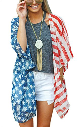 Angashion Women's American Flag Print Kimono Cover Up Tops Shirt