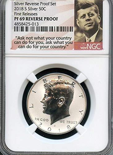 2018 S Silver Reverse Proof Ultra Cameo Kennedy Half Dollar REVPF70 NGC