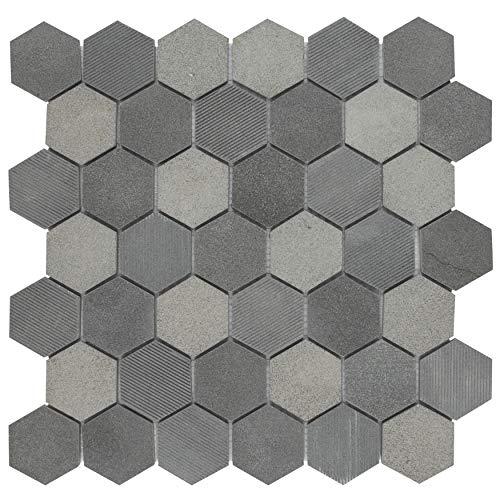 "SomerTile FSHSDHBL Egitura Due Hex Lava Volcanic Stone Mosaic Floor and Wall Tile, 11.75"" x 12"", Black"