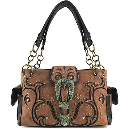 - Justin West Patina Girl Western Bronze Floral Buckle Handbag Purse Tote and Strap Wallet (Brown Handbag Only)
