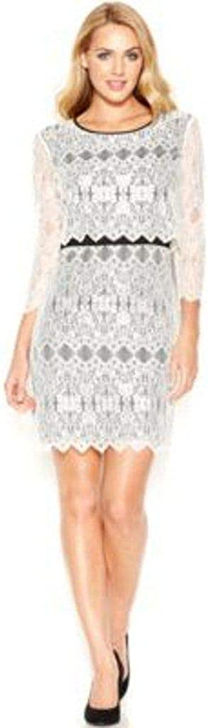 kensie Three-Quarter-Sleeve Layered-Look Lace-Overlay Dress
