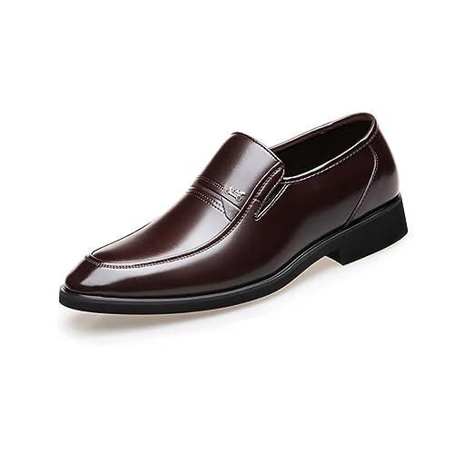 Zapatos de Cuero para Hombres Zapatos de Suela de Goma con Punta Trabajo Formal de Negocios