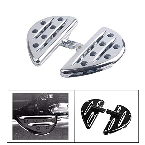 Goldfire 1 Pair Motorcycle Foot Pegs CNC Cut Front & Rear Foot Pegs Foot Rests Compatibility For Harley (Chrome Passenger Floorboards)