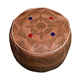 Moroccan Poofs Hassock Hand Made 100% Leather Ottoman Comfortable Round Design Foot Stool