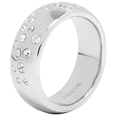 5cc6bad53 JF00557 Fossil Women's Ring Stainless Steel Glass Crystal White Size 53 /  16.9 MM