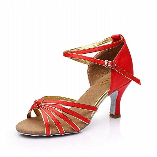 BYLE Sandalias de Cuero Tobillo Modern Jazz Samba Zapatos de Baile Zapatos de Baile Latino Baile Social de Adultos el Baile Zapatos de Tacón Alto Fondo Blando Nudo Zapato de Baile Oro Rojo 7CM Onecolor