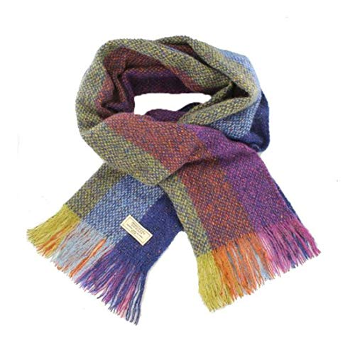 Mucros Weavers Islander Alpaca and Merino Wool Scarf from Ireland (I12 Blue Multi Stripe) ()