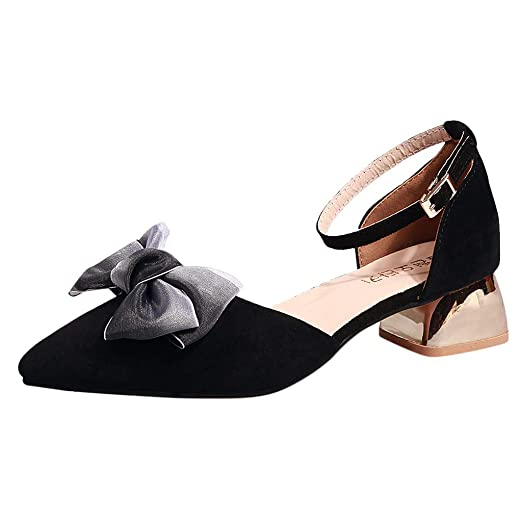58051a0735803 Women's Pointed Single Shoes, Dacawin Female Bow Shallow Mouth Belt ...