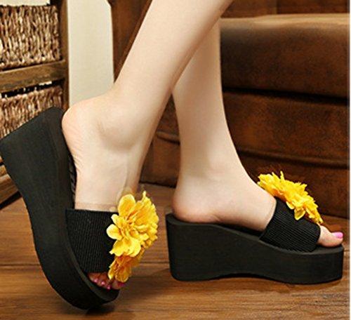 Mules Easemax Compensée Mignon Jaune Plateau Femme Chaussure Fleurs avec wAA4FXq5r