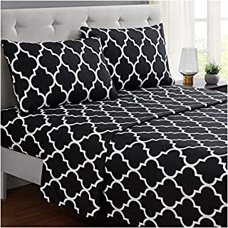 Mellanni Bed Sheet Set Calking-Black - Brushed Microfiber Printed Bedding - Deep Pocket, Wrinkle, Fade, Stain Resistant - 4 Piece (Cal King, Quatrefoil Black) (B01E7UJAOA) | Amazon price tracker / tracking, Amazon price history charts, Amazon price watches, Amazon price drop alerts