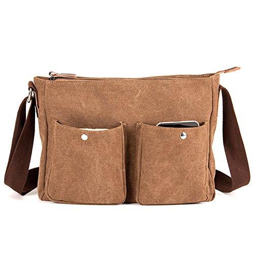 MongShop Men's Messenger Bag Vintage Durable Canvas Leather Satchel bag Military Shoulder Laptop Bags Bookbag Working Bag for Men and Women-Bronze