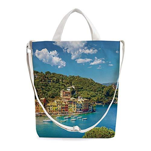 Italy Simple Zippered Canvas Bag,Portofino Landmark Aerial Panoramic View Villa
