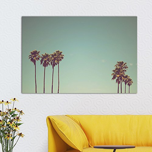 wall26 Canvas Wall Art - Retro Style Tall Palm Tree Under Clear Sky - Giclee Print Gallery Wrap Modern Home Decor Ready to Hang - 24