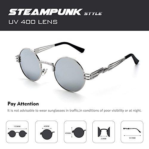 cercle Argenté retro Steampunk de CGID en inspirées polarisées soleil rond hommes du pour C Lunettes Argenté E72 métallique style 88xpUqgP
