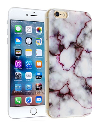 iPhone 6S Case, ALXCD Marble Pattern White Crystal Smooth Stone Texture Anti-Fade IMD Design Soft TPU Bumper Case for iPhone 6s/6 4.7