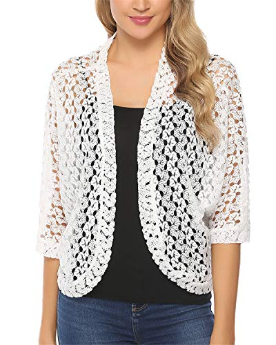 Hawiton Women's 3/4 Sleeve Shrug Lace Crochet Open Front Cardigan Bolero Jackets White