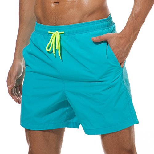 SILKWORLD Men's Swim Trunks Quick Dry Beach Shorts with Pockets, US XL, Sky Blue -