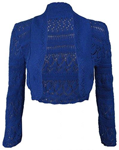 Bolero de punto de manga larga para mujeres, talla 36-46 azul cobalto