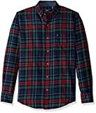 IZOD Men's Stratton Long Sleeve Button Down Plaid Flannel Shirt, Dark Midnight, X-Large