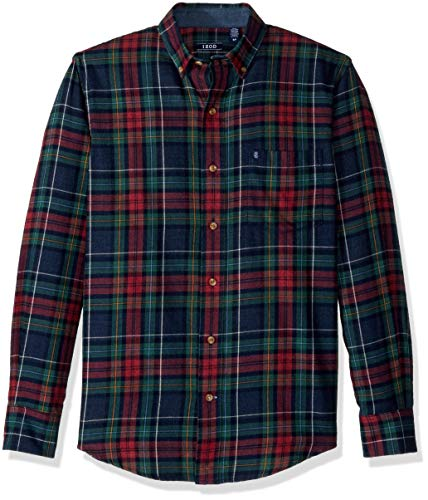 IZOD Men's Stratton Long Sleeve Button Down Plaid Flannel Shirt, Dark Midnight, Large