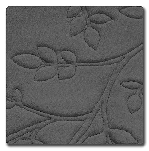 Bounce Comfort Spring Leaves Micro Plush Memory Foam Bath Mat with BounceComfort Technology, 20 x 32 in. Dark Grey