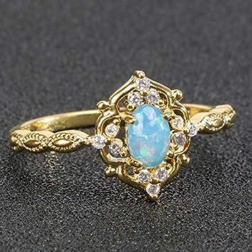 RVXZV Anillo de Plata 925 para Mujer con Forma Ovalada Azul Opal gemstoens Color Dorado Regalo de Fiesta para Mujer