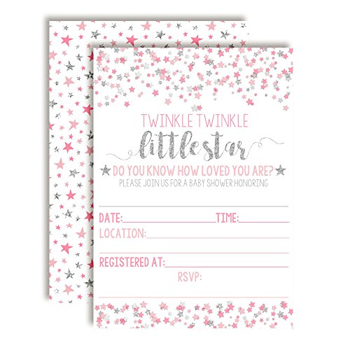 Pink & Silver Twinkle Little Star Baby Shower Invitations for Girls, 20 5