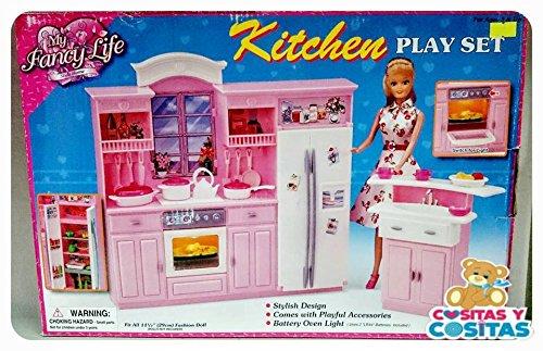 Cocina Grande con Luz Kitchen My Fancy Life Gloria Mueble Para Casa de Muñeca Tamaño Barbie 24016