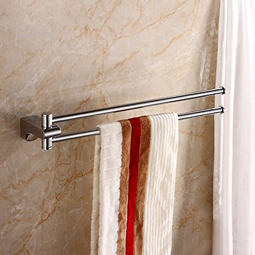 (18 inch Brass Swivel Hanger Double Towel Bar Holder, Chrome Finish Wall Mounted)