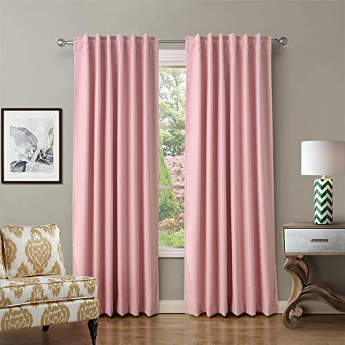 ChadMade Back Tab/Rod Pocket Pink 52Wx96L Inch (Set of 2 Panels) Solid Thermal Insulated Blackout Curtain Drape ()