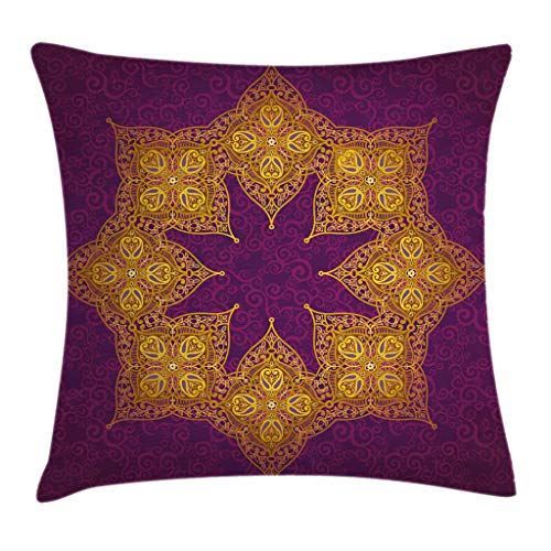 Ambesonne Purple Throw Pillow Cushion Cover by, Traditional Mandala Moroccan Royal Colors Mystic Cosmos Symbol Ethnic Theme Print, Decorative Square Accent Pillow Case, 20 X 20 Inches, Violet Gold