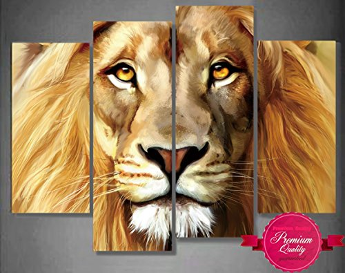 Nuolanart- 4 Panels Large Size Cool Lion Face Canvas Wall Art - Stretched Ready to Hang High Quality Oil Painting Print Modern Art for Decoration -P4S004 by Nuolan Art (Image #6)