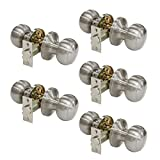 Gobrico Modern Passage Door Lock Satin Nickel Keyless Round knob for Hall or Closet 5Pack