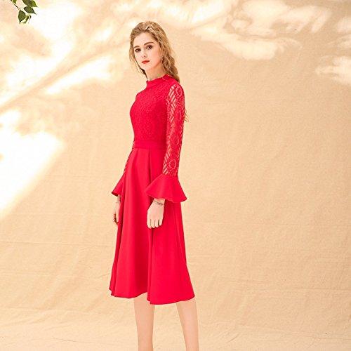 Cotylédons Robes Rouges Formelles Longues Pour Les Femmes Cou À Manches Longues Col Haut Robe De Swing De Taille
