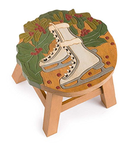 Hand-Carved Wood Winter Fun Footstool - Skates, Approx. 13 dia. x 10 H by Plow & Hearth